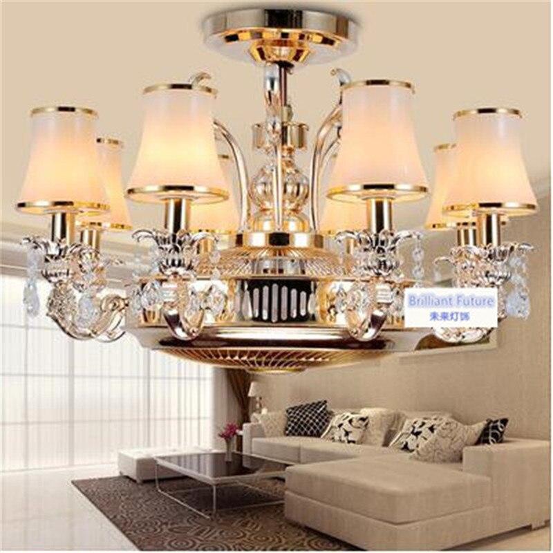 Ventilateur de plafond Anion furtif lampe ventilateur ventilateur lumière led en alliage de zinc en cristal européenne-style télécommande lampes 8 Têtes ventilateur de plafond