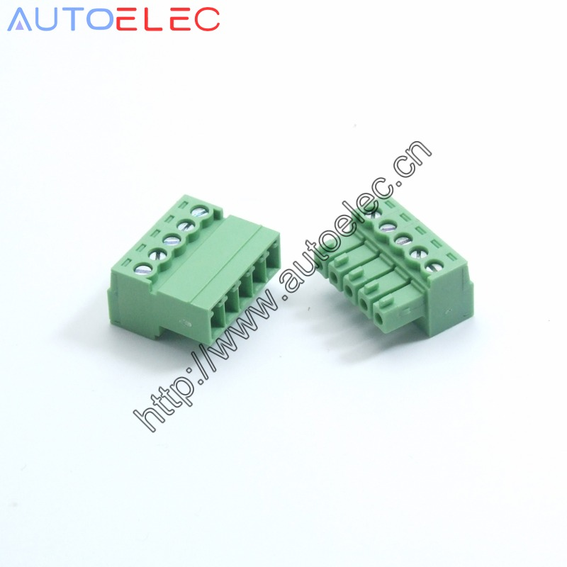 100pcs 3 81mm pitch 5P male and female pcb plug in terminal blocks Solder free PCB