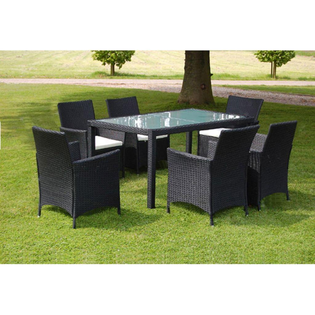 vidaXL 13 Piece Garden Furniture Set Black Poly Rattan-in ...