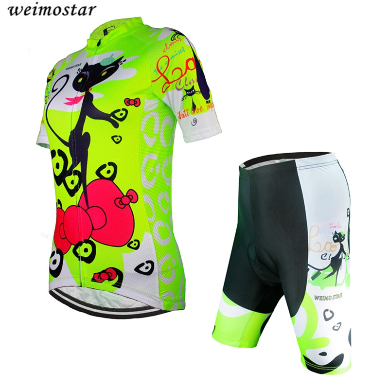 2016 Women Cycling Jersey Shorts Green Cats MTB Bike jersey Sets Pro clothing Girl Top short sleeve bike wear bicycle Shirts