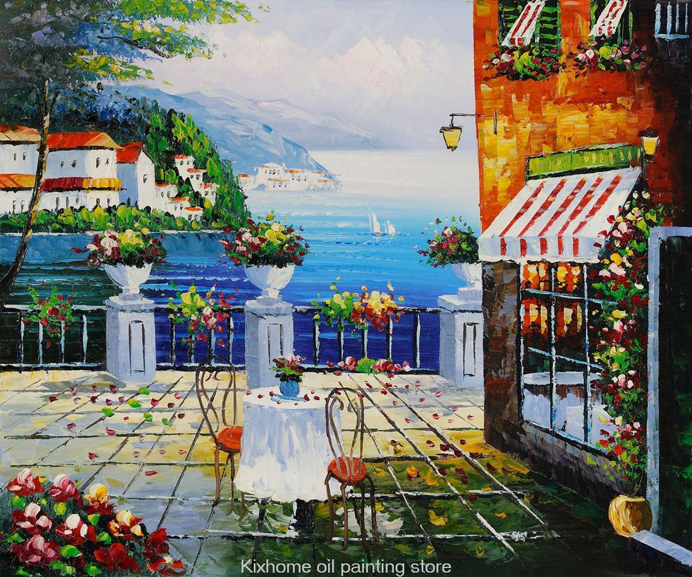 Famous cafe painting - Cafe Italy Mediterranean Scenes By Famous Scenery Artist Reproductions Decorative Handmade Museum Landscape Oil Painting In Painting Calligraphy From Home
