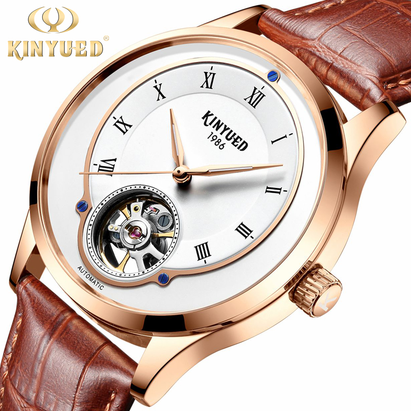 Tourbillon KINYUED Watch Luxury Brand New Men Automatic Mechanical Watches Leather Rose Gold Self-Wind  Designer Mens WristwatchTourbillon KINYUED Watch Luxury Brand New Men Automatic Mechanical Watches Leather Rose Gold Self-Wind  Designer Mens Wristwatch