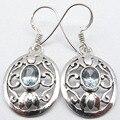 Invisível CORTE BLUE Topas FUNDIDO Novos Brincos de prata 1 3/8 polegadas