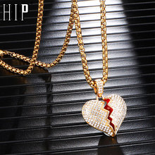 Hip Hop Iced Out Full Rhinestone Heart Breaking Stainless Steel Pendant & Necklace For Men Women Jewelry With Chain Dropshipping stylish rhinestone heart hollow out pendant necklace for women