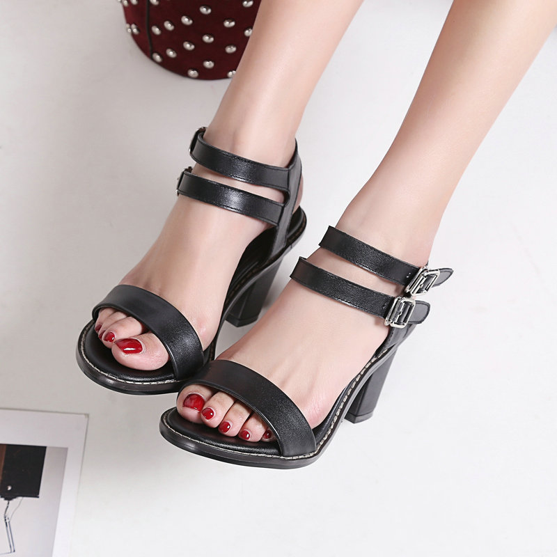 VINLLE 2017 Western Summer Shoes Brown Genuine Leather Women Pumps Sexy Wedding Women Shoes  Square High Heel Pumps Size 34-39 vinlle 2017 women pumps college style square med heel vintage slip on pu leather shoes casual round toe girl shoes size 34 40