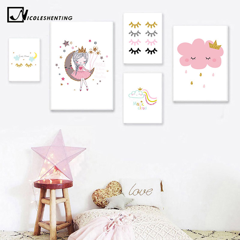 Little Princess Canvas Children Poster Baby Nursery Wall Art Print Cloud Rainbow Painting Nordic Kids Bedroom Decoration Picture