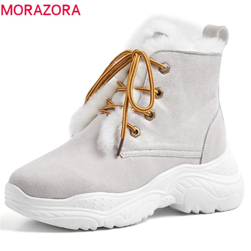 Confortable Bottes Nouvelle Cuir Cheville Femmes Daim À khaki Lacets Plates Pour Dames D'hiver Neige Baskets En Chaussures 2019 Morazora Noir Bg4qxvW