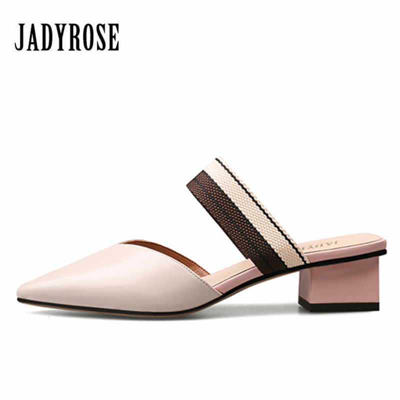 Jady Rose Pointed Peep Toe Women Gladiator Slippers Women's Sandals Med Heel Slipper Valentine Shoes Woman Summer Slides Mules phyanic 2017 gladiator sandals gold silver shoes woman summer platform wedges glitters creepers casual women shoes phy3323