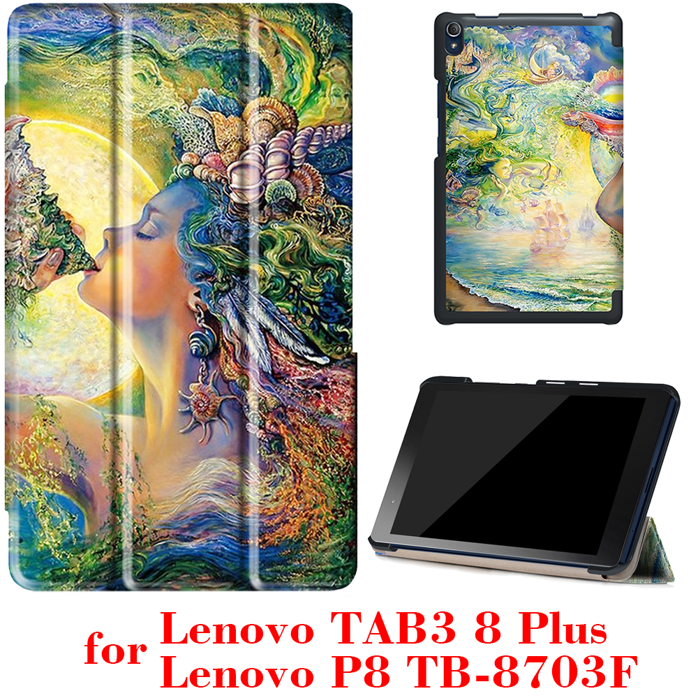Case for Lenovo Tab3 8 Plus & P8 TB-8703 TB-8703F 8 inch Tablet 2016 release with stand  Ultra slim PU Leather Protective Case slim fit stand feature folio flip pu hybrid print case for lenovo tab 3 730f 730m 730x 7 inch
