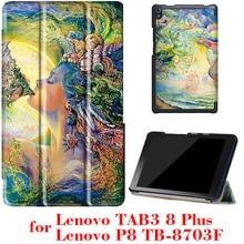Case para lenovo tab3 8 plus y p8 tb-8703 tb-8703f 8 pulgadas Tablet versión 2016 con soporte Ultra delgado de LA PU de Cuero Protectora case