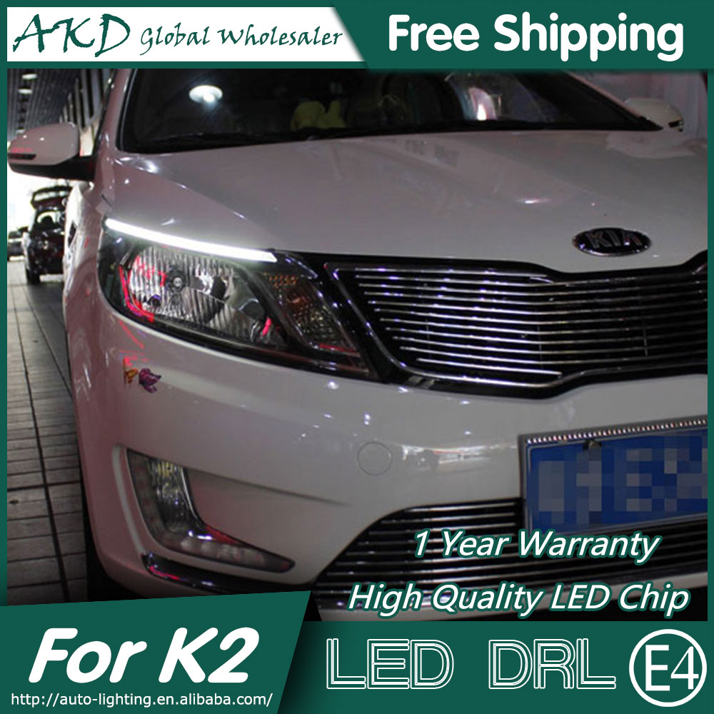 AKD Car Styling LED DRL for Kia K2 2012-2014 New Rio Eye Brow Light LED External Lamp Signal Parking Accessories akd car styling for kia sportage r drl 2014 new sportager led drl korea design led running light fog light parking accessories