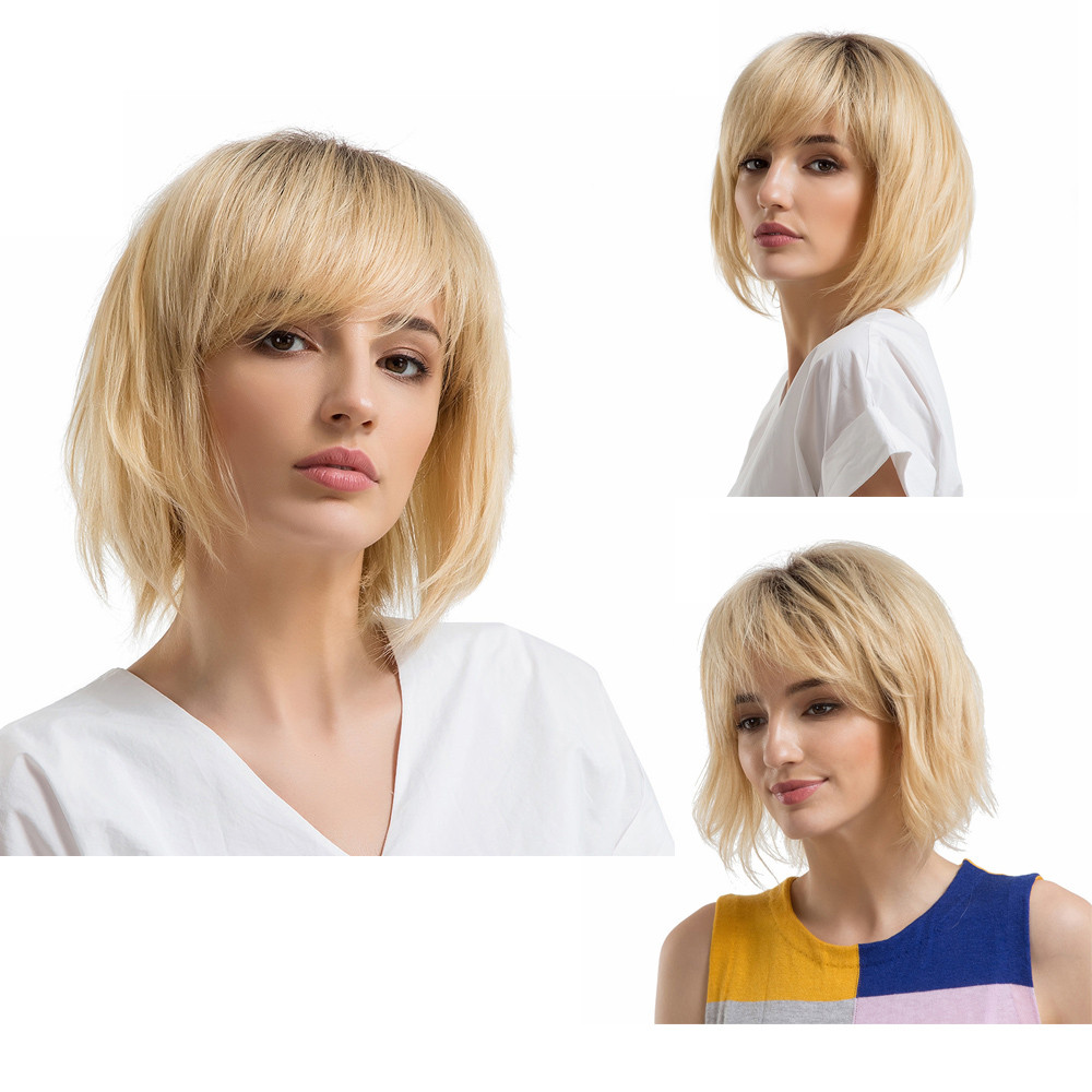 Brown Ash Blonde High Density Temperature Synthetic Wig For Black/White Women Glueless Wavy Cosplay short Hair Wig P#C fashion short boutique side bang curly chestnut brown synthetic capless wig for women