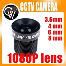 Objectif CCTV 1080P, 1/2 pouces, 3.6mm 4mm 6mm 8mm pour CCTV Full HD, caméra IP M12 x 0.5, montage MTV