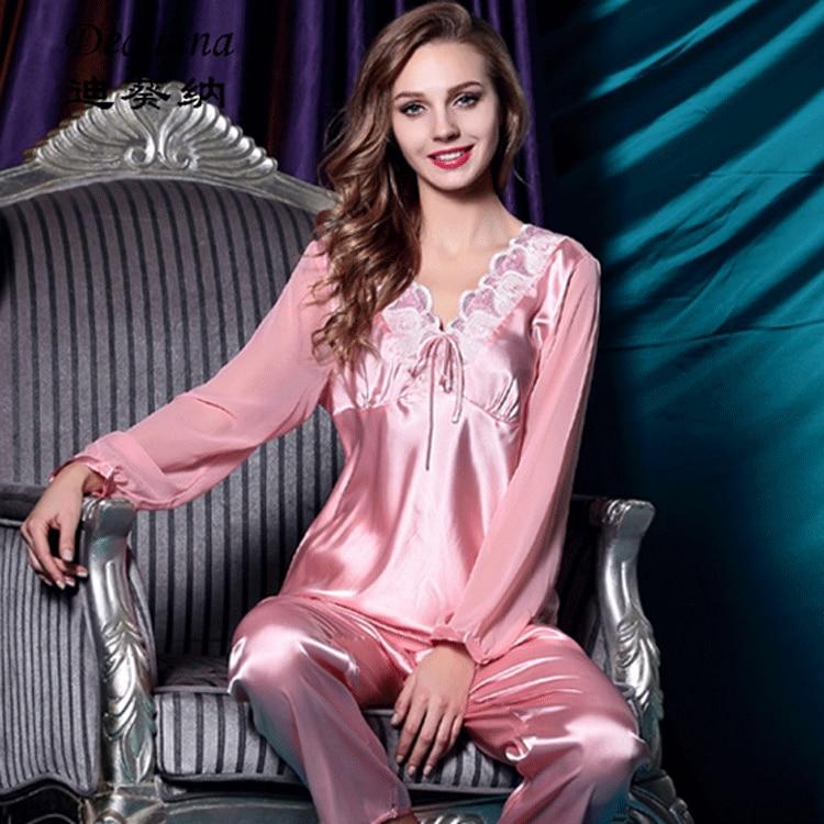 90e5c5e7790 High Quality Spring Autumn Women Satin Silk Pajama Set Sleepcoat Sleep Pant  Lady Nightdress Female Sexy Sleepwear Pajamas