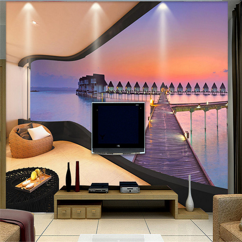 customized 3d mural, sea view room 3d mural wallpaper living room bedroom sofa TV background wall 3d wallpaper home decoration large mural living room bedroom sofa tv background 3d wallpaper 3d wallpaper wall painting romantic cherry
