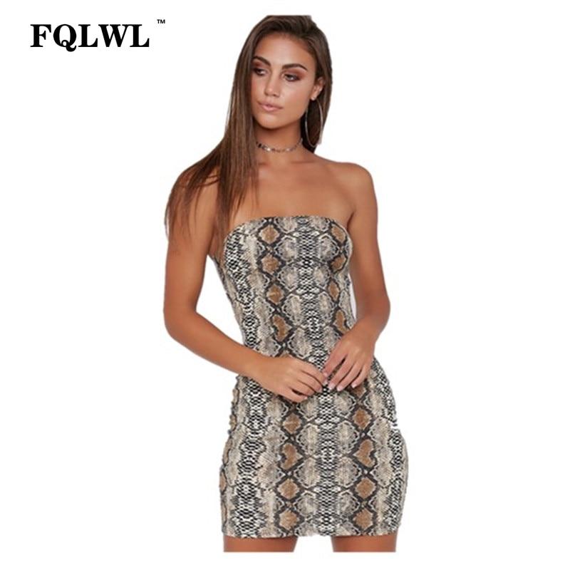 62c00ebb92 Detail Feedback Questions about FQLWL Snake Skin Pattern Sexy Tube Dress  Women Strapless Zipper Bodycon Summer Dress Robe Femme Clubbing Party  Dresses ...