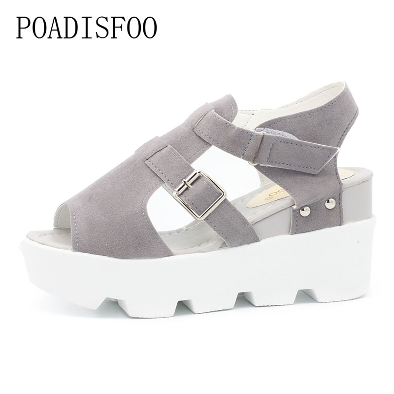 POADISFOO 2018 Spring Summer Women's Sexy Fish Toe sandals platform sexy shoes slope fish head sandals lady sandals .HYKL-229 slope with super high heels 14cm platform shoes sandals and slippers spring and summer fish head thick crust waterproof shoes