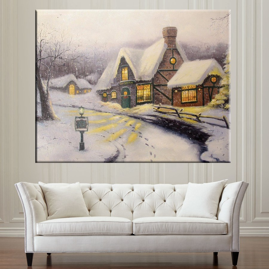 White Snowing Living Room Wall Decor Landscape Picture Wall Art Canvas Printed Snow Field Winter Painting Poster Artwork Custom