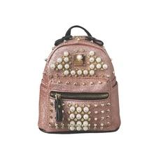 Unstyle Симпатичный мини Заклёпки Рюкзаки Женская Pearl Малый Рюкзаки Высокое качество для девочек Многоцелевой Путешествия Сумки BP065