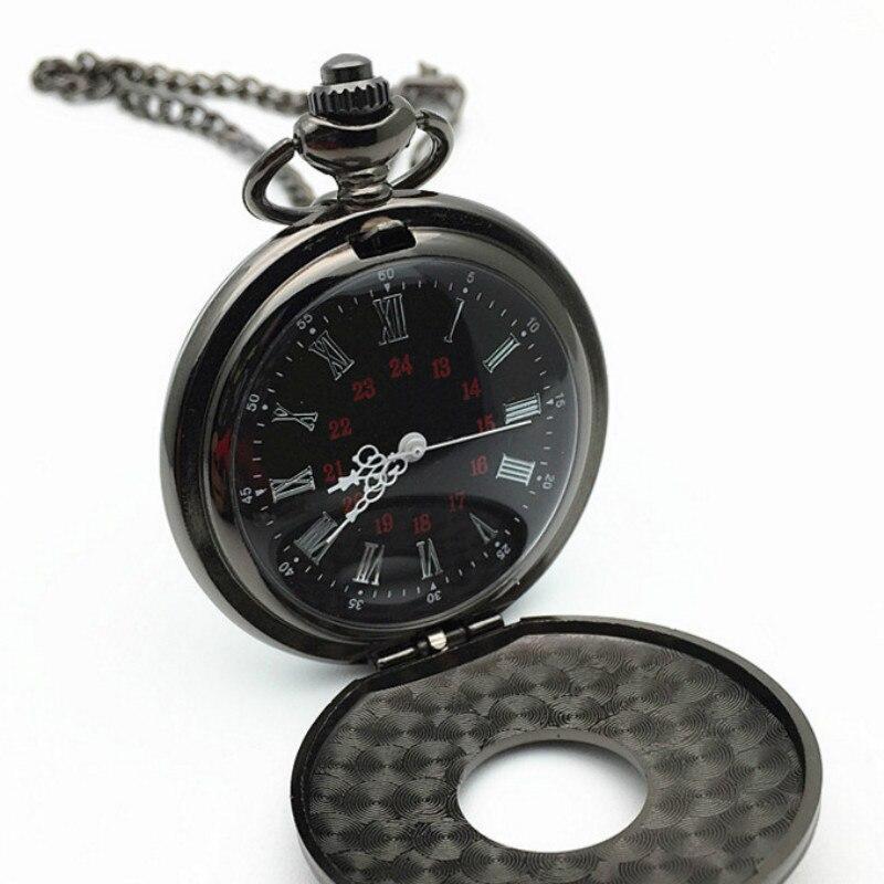 Vintage Charm Black Unisex Fashion Roman Number Quartz Steampunk Pocket Watch Women Man Necklace Pendant with Chain Gifts