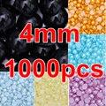 Promoción! Multicolors 1000 unids 4 mm Flatback cuentas de perlas de imitación de resina ABS medio alrededor de las perlas para DIY diseños de uñas Y3595