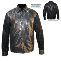 Rare Classic Show Cosplay MJ Michael Jackson Billie Jean sequin Black shirt  in 1980  39 s For Collection 5dfe28068