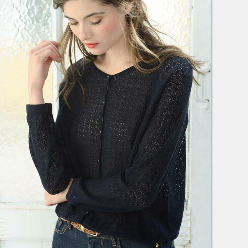Women Black Autumn French Fresh Openwork Cardigan Hollow Out Cotton Short Knitted Sweater Coat