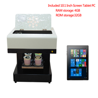 4 cups Latte art DIY coffee printer with 10.1inch tablet and one set Edible ink|Printers| |  -