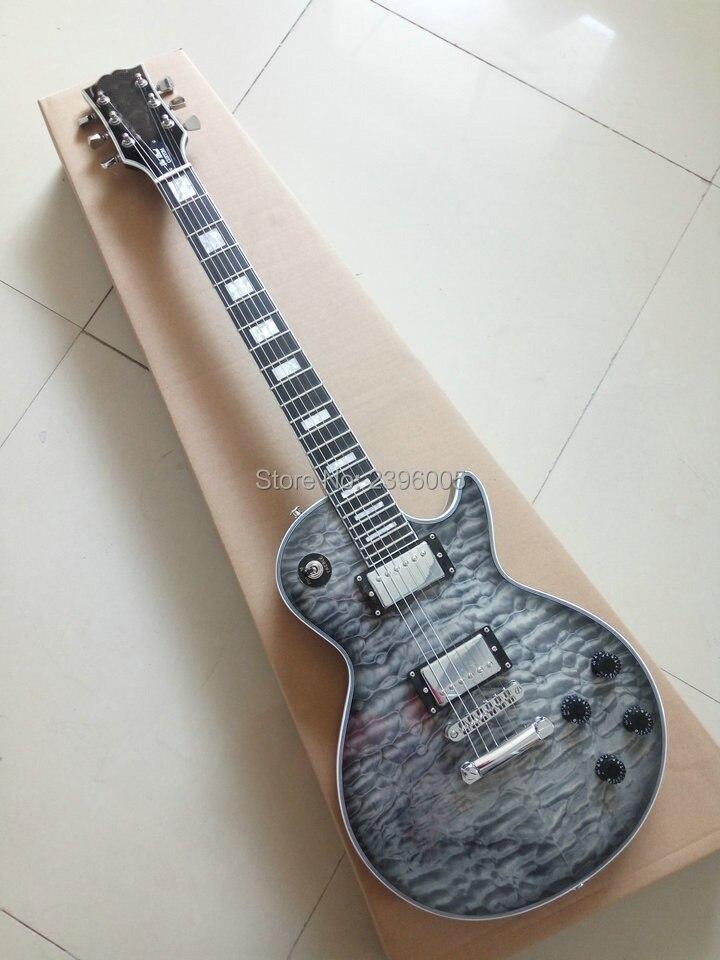 Custom Shop exclusif LP personnalisé guitare électrique matelassée nice d'érable couverture AAA corps En Acajou Touche En Ébène de haute qualité