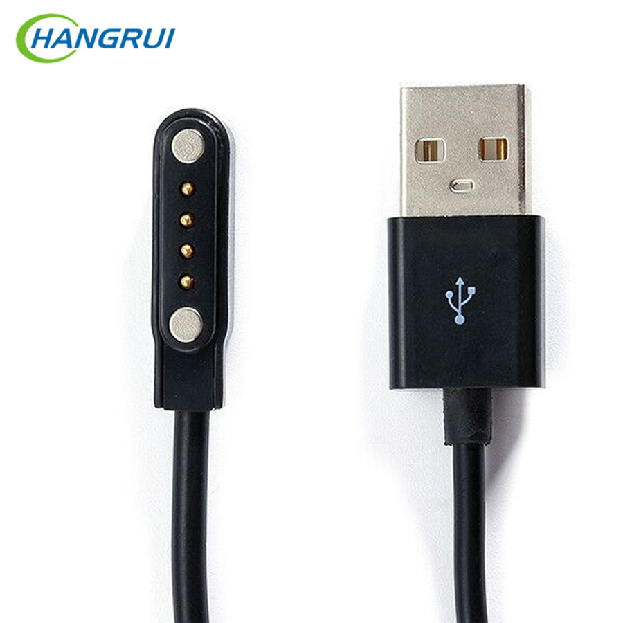 HANGRUI USB Magnetic Charger Cable Universal 4 Pin Magnetic Suction charger cable for Smart Watch GT88 G3 KW18 KW88 smartwatch smart watch charger cradle with usb charging cable for huawei watch 1 band power charge dock station magnetic charger for huawei