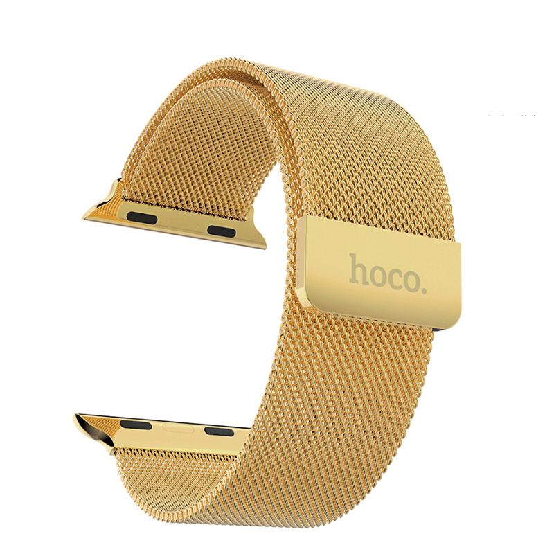 ФОТО HOCO original Gold Milanese Loop Band for apple watch 42mm 38mm luxury quality metal stainless steel bracelet strap