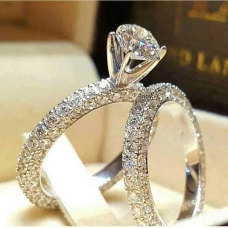Tisonliz 2pcs/lot Silver Double Rings Set Woman Cubic Zirconia Engagement Wedding Ring For Women Ladies Lover Party Jewelry Gift