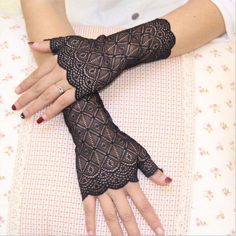 Fashion Sexy Summer Female Half Finger Sunscreen Short Lace Glove Women Driving Fingerless Black Short Sun Protection Glove G173