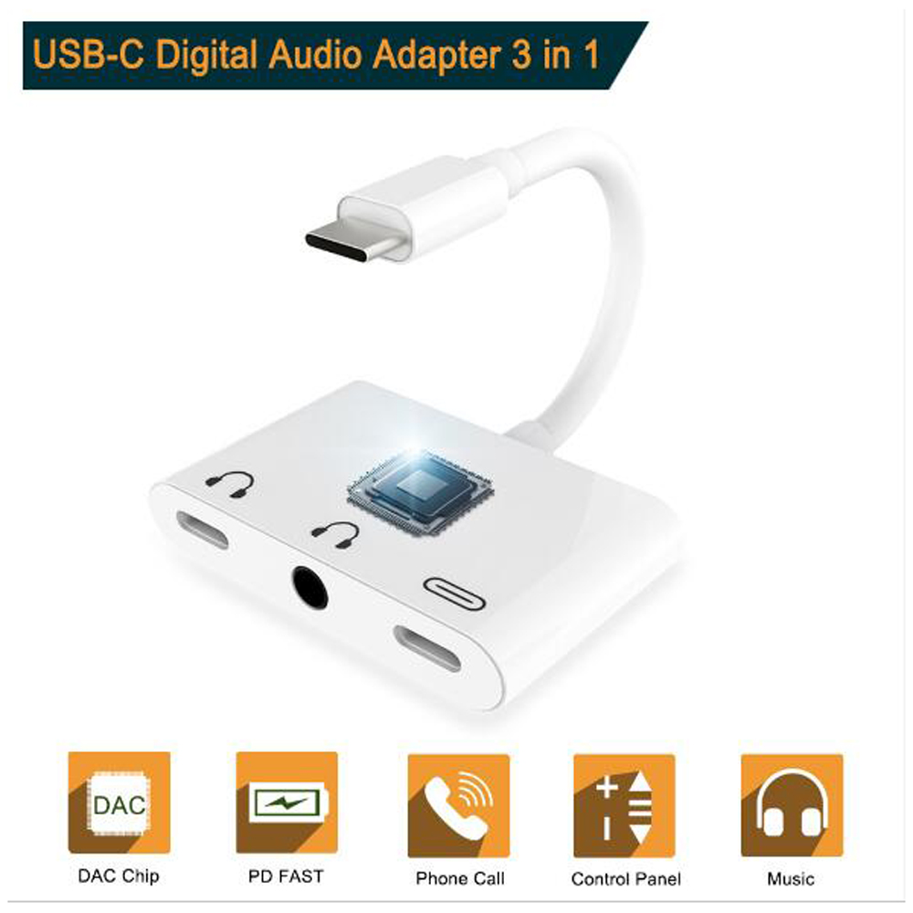 Type-C USB-C To 3.5mm AUX Dual Type C Audio Charge Adapter For Huawei Hornor 8 9 P20 P30 Pro Headphone Earphone Adapter Splitter