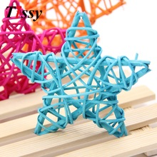 10PCS 6CM Lovely Rattan Star Sepak Takraw Jul / Födelsedag & Hem Wedding Party Decorations DIY Jul Dekorationer Rattan Ball Barn Leksaker