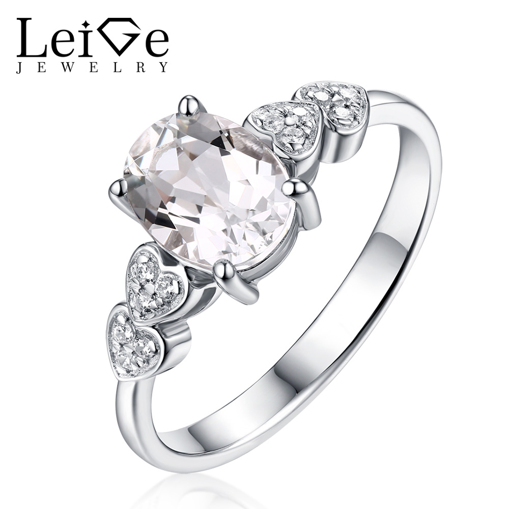 Leige Jewelry Morganite Ring For Women Silver 925 Fine Jewelry Natural Pink Morganite Engagement Wedding Rings Oval Cut Gemstone