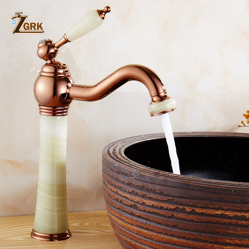 ZGRK Marble faucet hot and cold basin jade taps full copper Golden lavatory faucet marble stone gold basin faucet цена