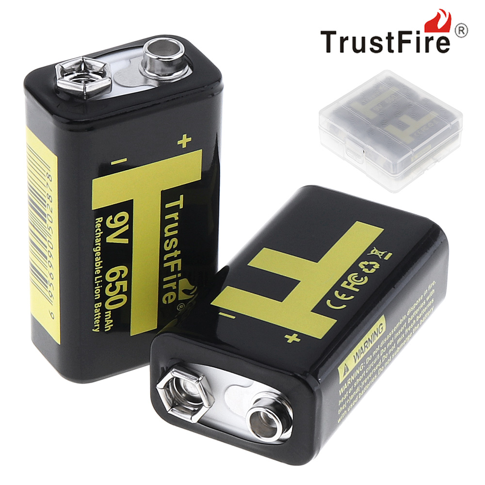 2pcs TrustFire 650mAh 9V 6F22 Rechargeable Li-ion Battery with 1000 Cycle for Multimeter Microphone + Battery Storage Box Case 3 in 1 lcd digital multimeter green 9v 1 x 6f22