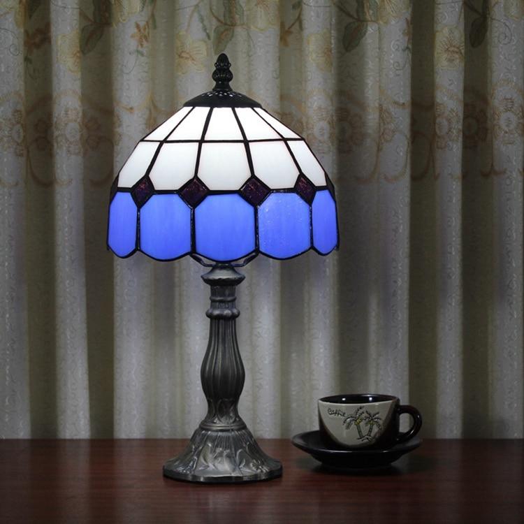 Stained Glass Mediterranean Simple blue Creative Retro Art Ornament lighting bedroom Bedside decorative desk lamp 110-240V E27