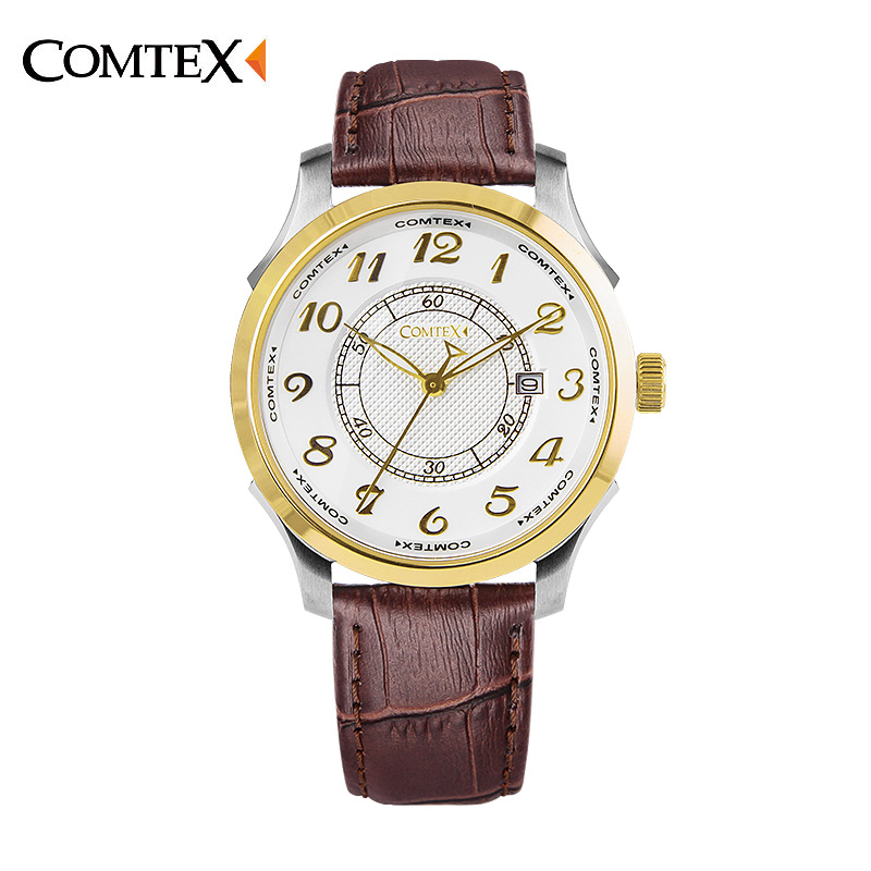ФОТО COMTEX Mens Watches Commercial Male Waterproof  Movement Vintage Leather Quartz Watches Luxury Brand Relogio Masculino