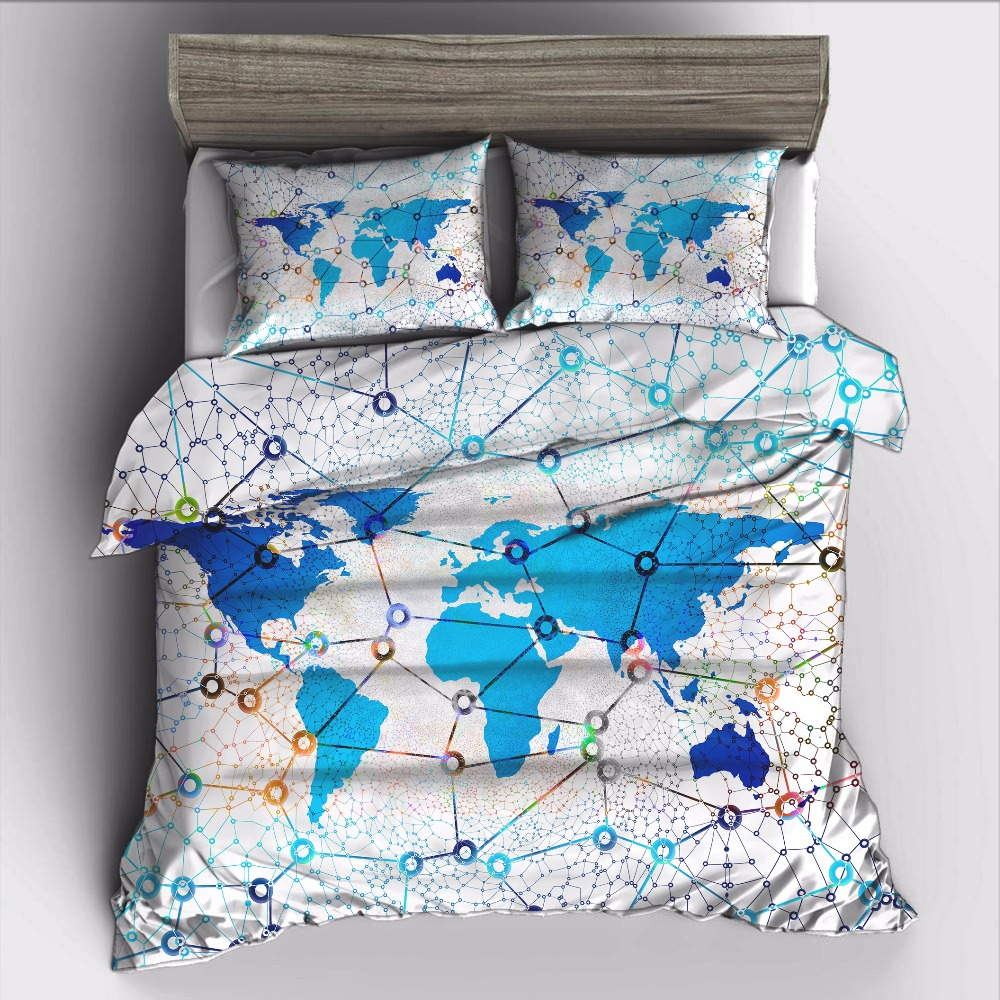 US $27.6 40% OFF|AHSNME sci fi world map Bedding Set High definition Print  Quilt Cover for RU AU EU King Double Size Market jogo de cama-in Bedding ...