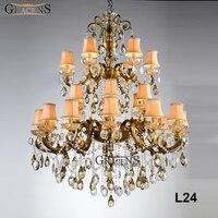 Grande Clássico de Luxo Cristal Luz Do Candelabro Luminária Iluminação Lustre Lâmpada de Lustres De Cristal de Suspensão Da Gota