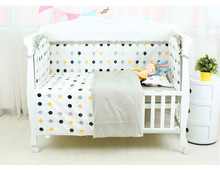 где купить 6Pcs Cotton Baby Crib  Bumpers Bedding Set Kids Bedding Sheet Newborn Baby Bed Crib Bumper Cot Set for Bebe Customized Service дешево