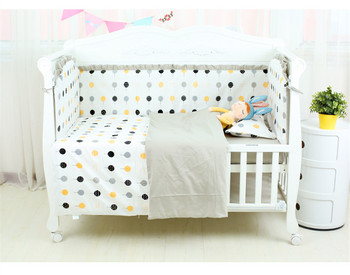 цена на 6Pcs Cotton Baby Crib  Bumpers Bedding Set Kids Bedding Sheet Newborn Baby Bed Crib Bumper Cot Set for Bebe Customized Service