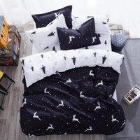 Cute Cartoon Deer Bedding Sets Elk and Christmas Tree Pattern Duvet Cover white Bed Sheet Pillowcases Birthday Gift 3/4pcs