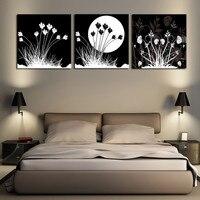 3 Unidades Negro y Blanco Hierba Luna Pintura Abstracta Home Living Room Decoración de La Pared Arte HD Imagen Lienzo de Impresión Sin Marco