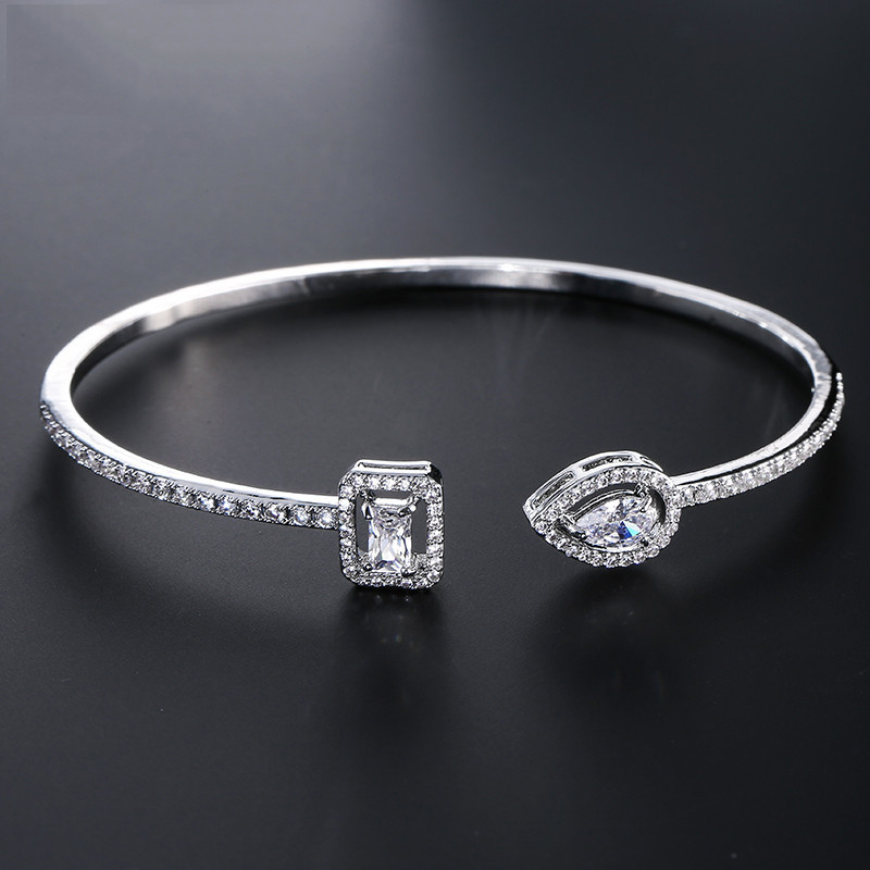 2020 New Trendy Princess 925 Sterling Silver Adjustable Open Bangle For Women Anniversary Gift Jewelry Wholesale Moonso S5214