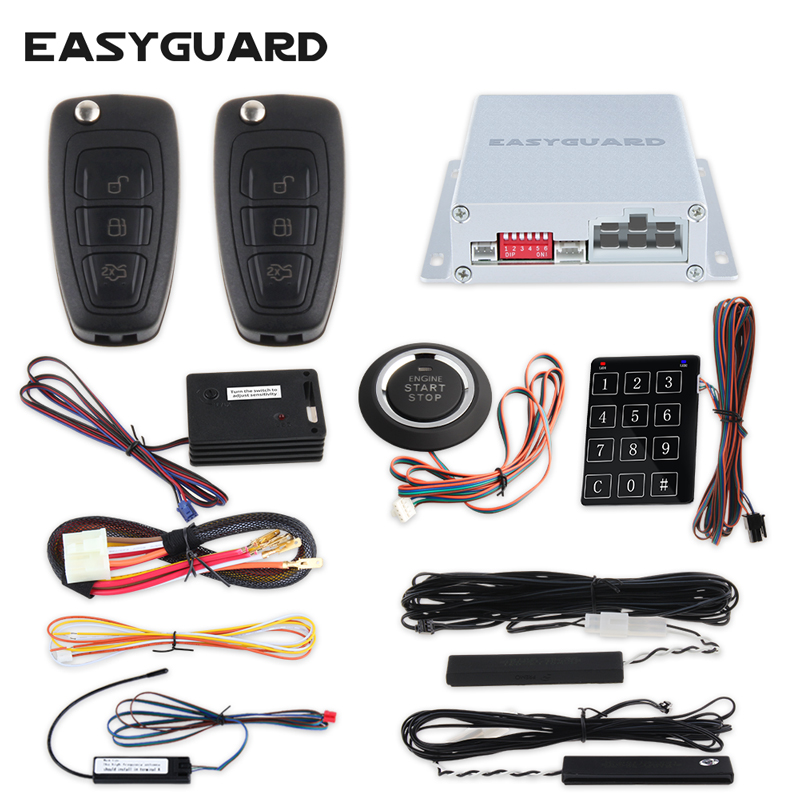 EASYGUARD passive keyless entry car alarm Rolling code remote engine start stop push button start password entry shock alarm rolling code rfid pke car alarm system push button start stop remote engine start passive keyless entry smart password keypad