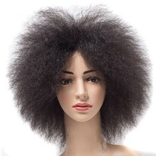 цена на Feibin Afro Wigs For Black Women Short Kinky Curly Fluffy Wig Hair Synthetic High Temperature Fiber 6inches 100g