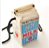 Cute Cartoon Carton Bag Mini Mlk Box Fashion Women Letter Canvas Shoulder Bag Small Cross Body